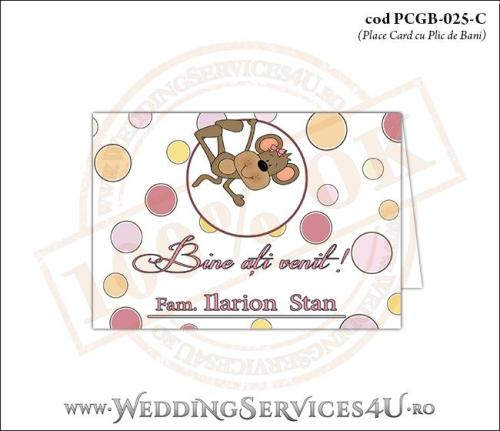 PCGB-025-C Place Card cu Plic de Bani sigilabil pentru Botez cu maimutica