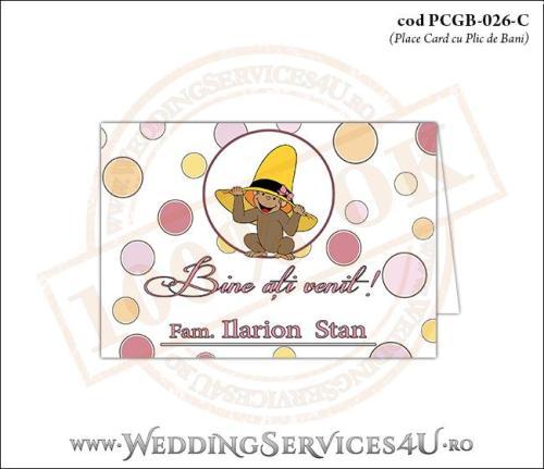 PCGB-026-C Place Card cu Plic de Bani sigilabil pentru Botez cu pui de maimutica