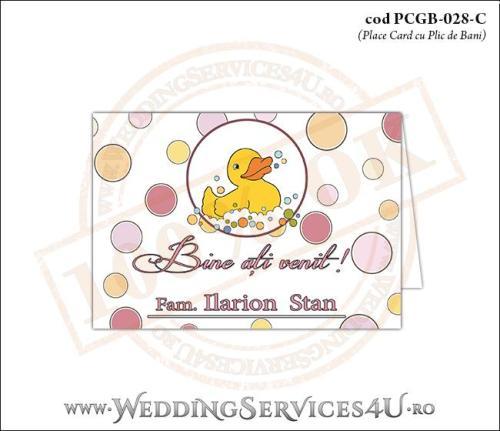 PCGB-028-C Place Card cu Plic de Bani sigilabil pentru Botez cu ratusca
