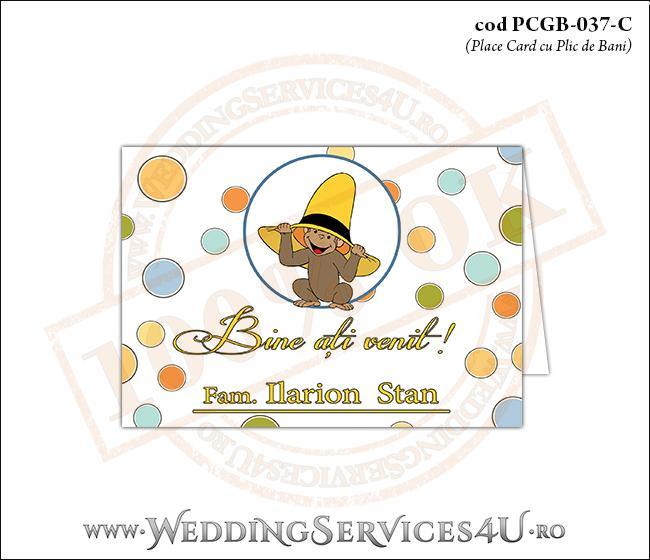 PCGB-037-C Place Card cu Plic de Bani sigilabil pentru Botez cu pui de maimutica