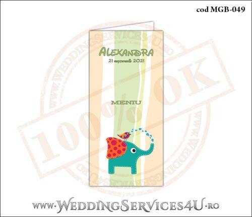 MGB-049 Meniu pentru Botez cu elefantel si vrabiuta