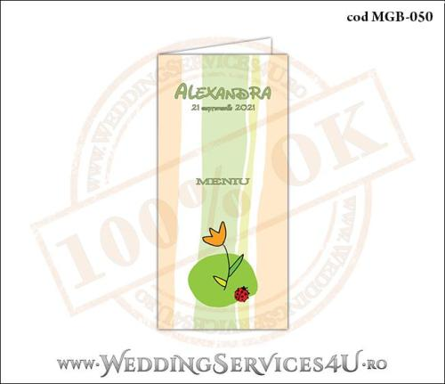 MGB-050 Meniu pentru Botez cu floare si gargarita