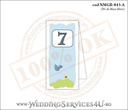 NMGB-043-A Numar de Masa pentru Botez cu o vrabiuta in zbor deasupra unei flori galbene