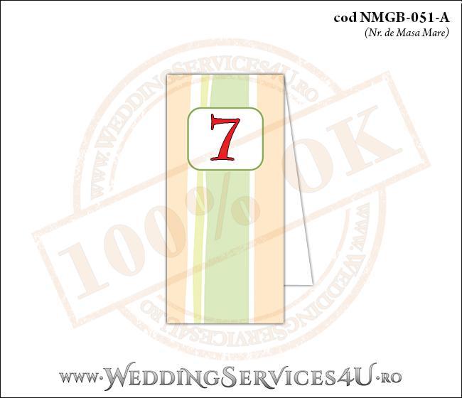 NMGB-051-A Numar de Masa pentru Botez cu dungi pastel