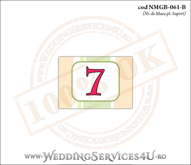 NMGB-061-B Numar de Masa pentru Botez cu dungi pastel