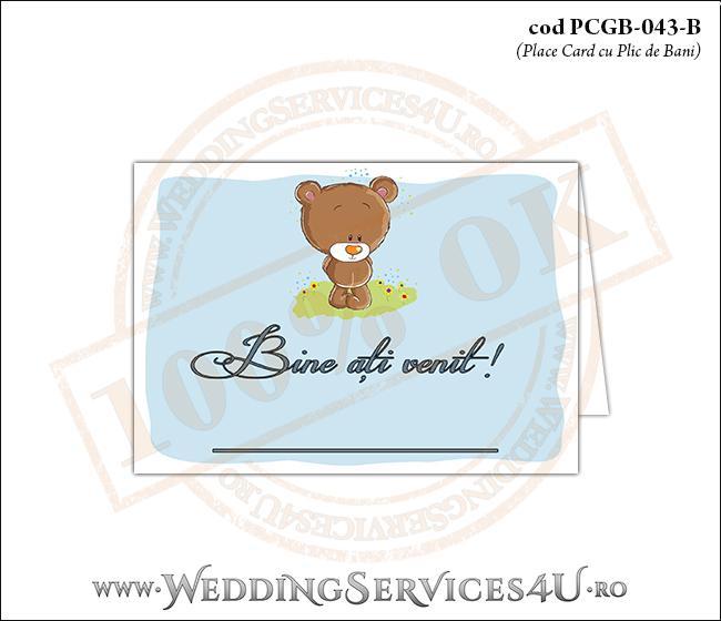 PCGB-043-B Place Card cu Plic de Bani sigilabil pentru Botez cu un ursulet pe o pajiste cu flori si cer albastru