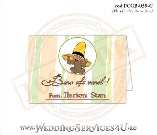 PCGB-059-C Place Card cu Plic de Bani sigilabil pentru Botez cu pui de maimutica
