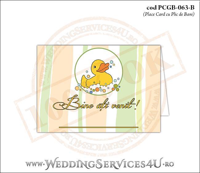 PCGB-063-B Place Card cu Plic de Bani sigilabil pentru Botez cu ratusca
