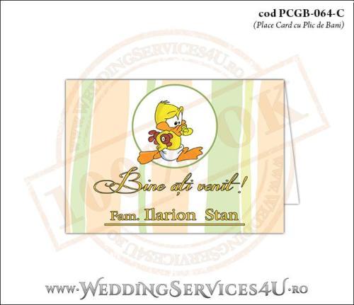 PCGB-064-C Place Card cu Plic de Bani sigilabil pentru Botez cu bebe ratusca