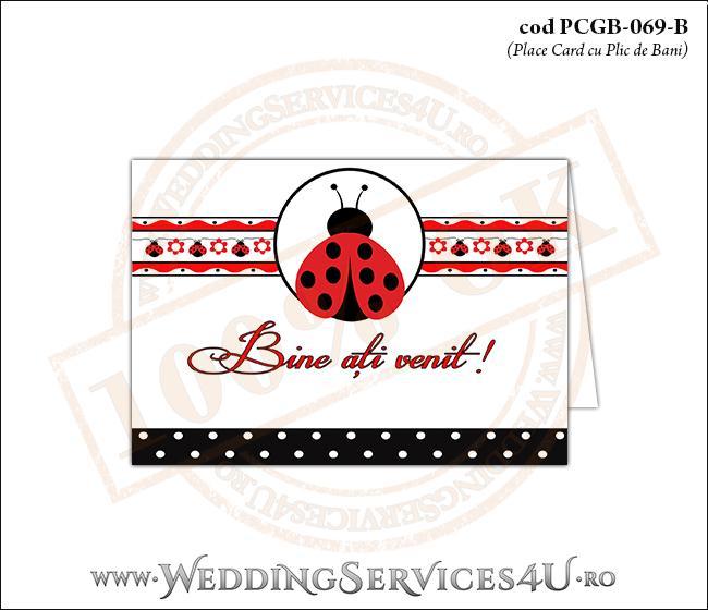 PCGB-069-B Place Card cu Plic de Bani sigilabil pentru Botez cu gargarita si motive traditionale romanesti
