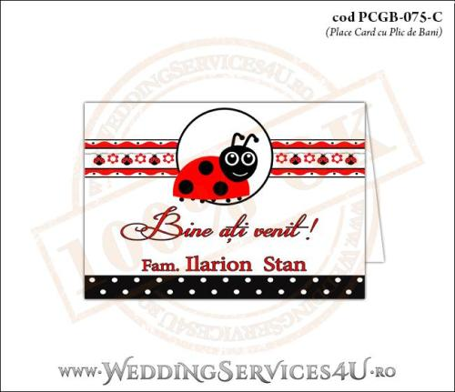 PCGB-075-C Place Card cu Plic de Bani sigilabil pentru Botez cu gargarita si motive traditionale romanesti