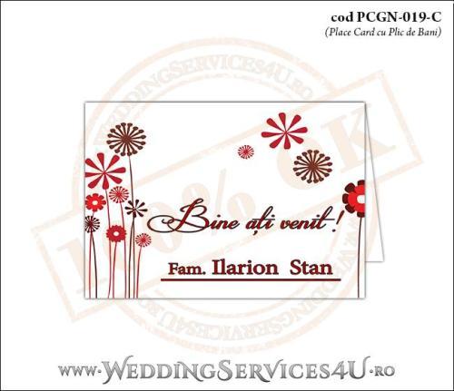 PCGN-019-C Place Card cu Plic de Bani sigilabil pentru Nunta sau Botez cu flori stilizate
