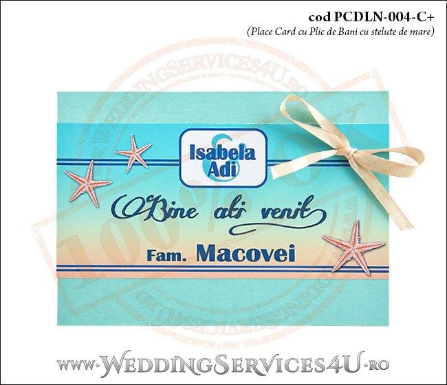 PCDLN-004-C+-01 place card cu plic de bani nunta botez turcoaz cu tematica marina si stelute de mare