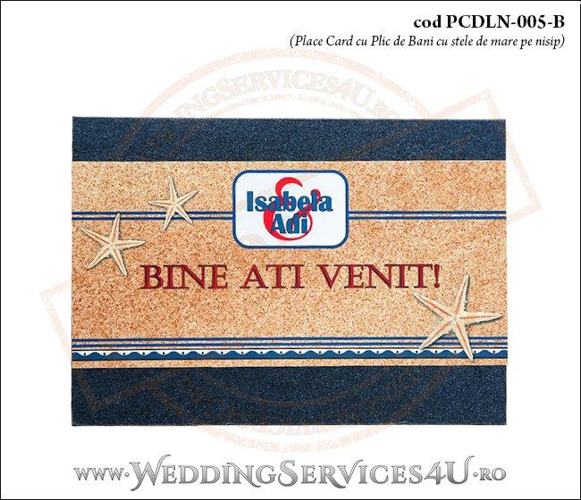 PCDLN-005-B place card cu plic de bani nunta botez albastru marin cu tematica marina si stelute de mare pe nisip