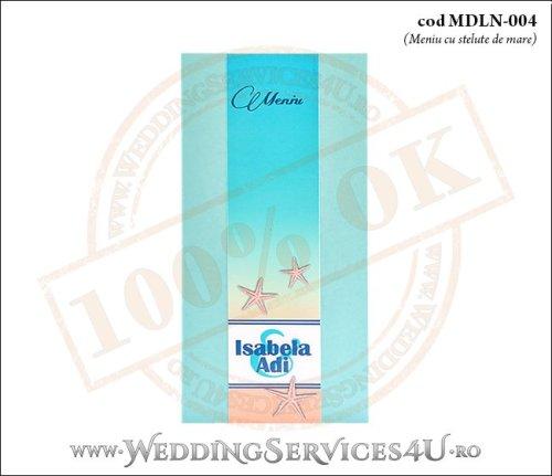 MDLN-004-01 meniu nunta botez turcoaz cu tematica marina si stelute de mare