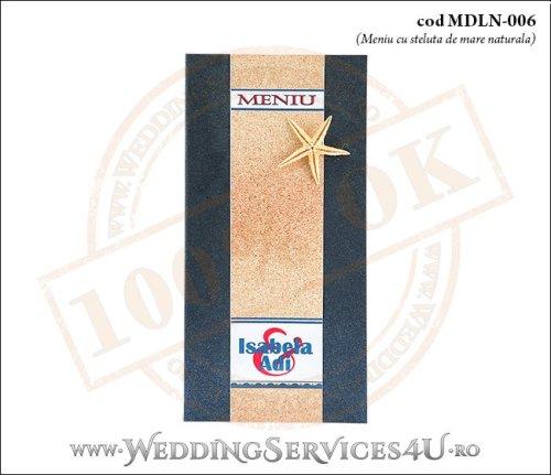 MDLN-006-01 meniu nunta botez blue navy cu tematica marina si steluta de mare naturala