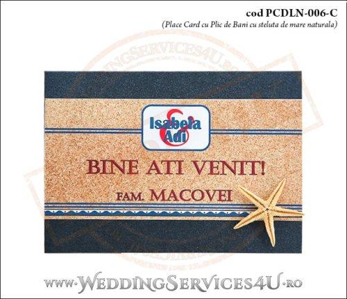 PCDLN-006-C-01 place card cu plic de bani nunta botez albastru marin cu tematica marina si stea de mare naturala