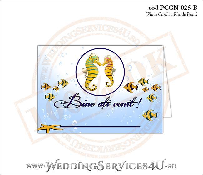 PCGN-025-B Place Card cu Plic de Bani sigilabil pentru Nunta sau Botez cu tematica marina (cu caluti de mare, steluta de mare si pestisori)