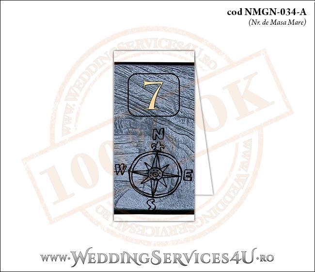 NMGN-034-A Numar de Masa pentru Nunta sau Botez cu tematica marina (cu fundal de lemn si o busola)