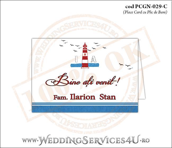 PCGN-029-C Place Card cu Plic de Bani sigilabil pentru Nunta sau Botez cu tematica marina (cu un far marin si pasari stilizate in zbor)