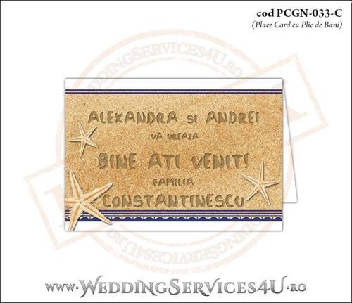 PCGN-033-C Place Card cu Plic de Bani sigilabil pentru Nunta sau Botez cu tematica marina (cu fundal de nisip cu motive grecesti si stele de mare)
