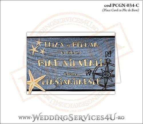 PCGN-034-C Place Card cu Plic de Bani sigilabil pentru Nunta sau Botez cu tematica marina (cu busola si stele de mare pe un fundal de lemn)