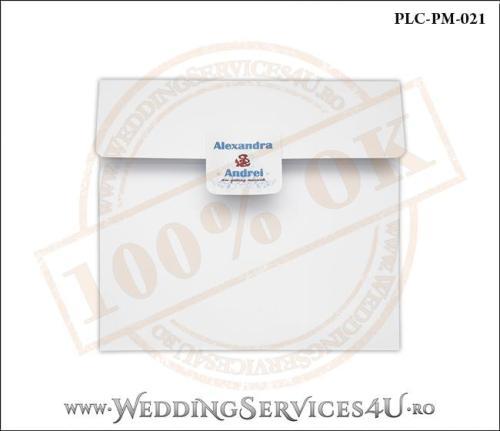 Plic Patrat pentru invitatie de Nunta Colorat Personalizat cu tematica marina realizat din carton alb mat cu Monograma Aplicata. PLC-PM-021-1