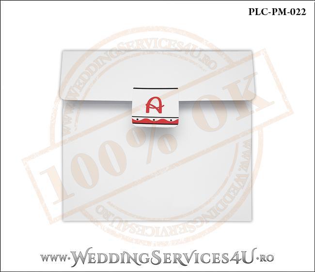 Plic Patrat pentru invitatie de Botez Colorat Personalizat realizat din carton alb mat cu Monograma Aplicata. PLC-PM-022-1