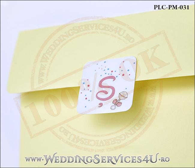 Plic Patrat Invitatie Nunta-Botez PLC-PM-031-2 Galben