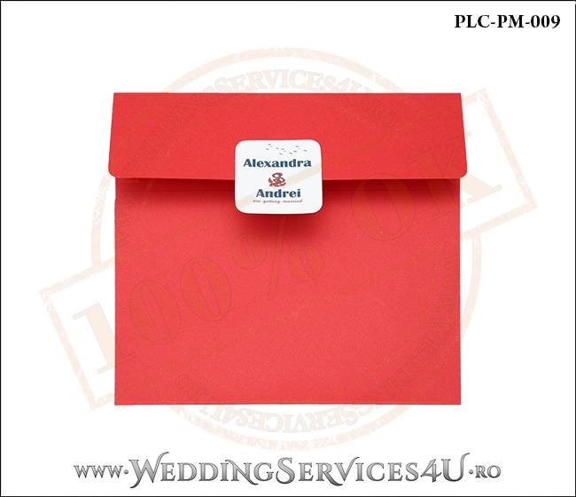 Plic Patrat pentru invitatie de Nunta Colorat Personalizat cu tematica marina realizat din carton rosu mat cu Monograma Aplicata. PLC-PM-009-1