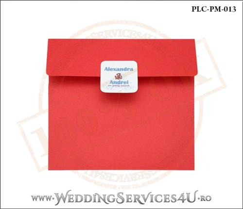 Plic Patrat pentru invitatie de Nunta Colorat Personalizat cu tematica marina realizat din carton rosu mat cu Monograma Aplicata. PLC-PM-013-1