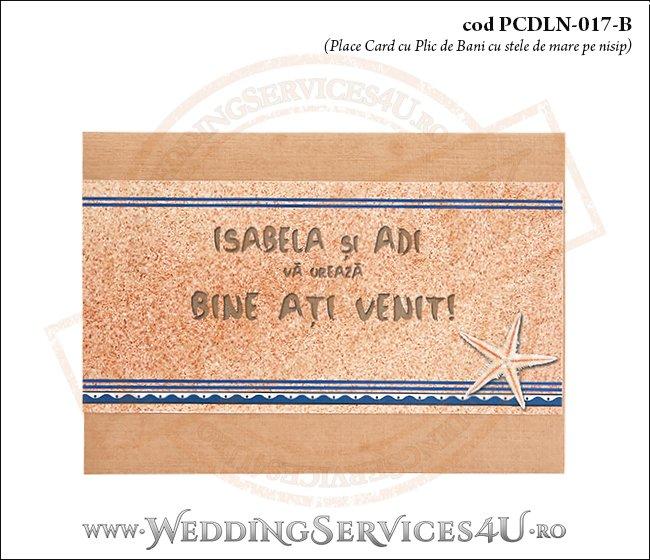 PCDLN-017-B place card cu plic de bani nunta botez maro crem marin cu tematica marina si stelute de mare pe nisip