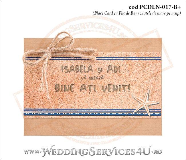 PCDLN-017-B+ place card cu plic de bani nunta botez maro crem texturat marin cu tematica marina si stele de mare pe nisip