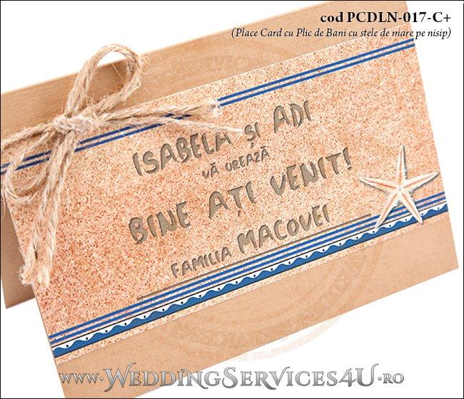 PCDLN-017-C+-02 place card cu plic de bani nunta botez maro crem marin cu tematica marina si stele de mare pe nisip