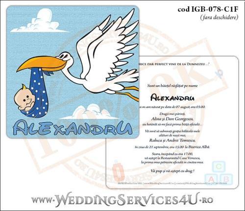 IGB-078-C1F Invitatie de Botez 'baby delivery' cu o barza in zbor ducand in cioc un bebelus