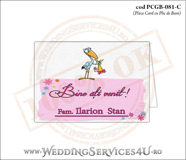 PCGB-081-C Place Card cu Plic de Bani sigilabil pentru Botez cu o barza 'livrand' un bebelus la usa casei (baby delivery)