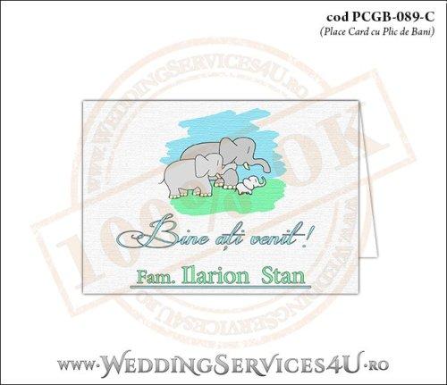 PCGB-089-C Place Card cu Plic de Bani sigilabil pentru Botez cu o familie de elefanti (un bebe elefantel impreuna cu parintii lui)
