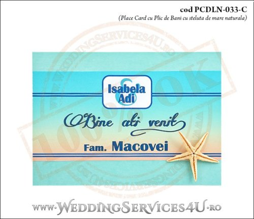 PCDLN-033-C-01 place card cu plic de bani nunta botez turcoaz cu tematica marina si stea de mare naturala