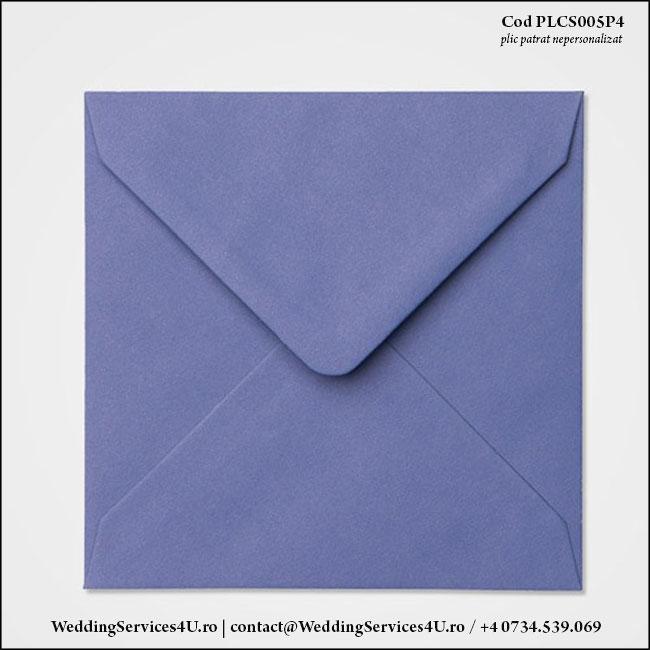 PLCS005P4 Plic Colorat Albastru Iris pentru Invitatie Patrata de Nunta Botez