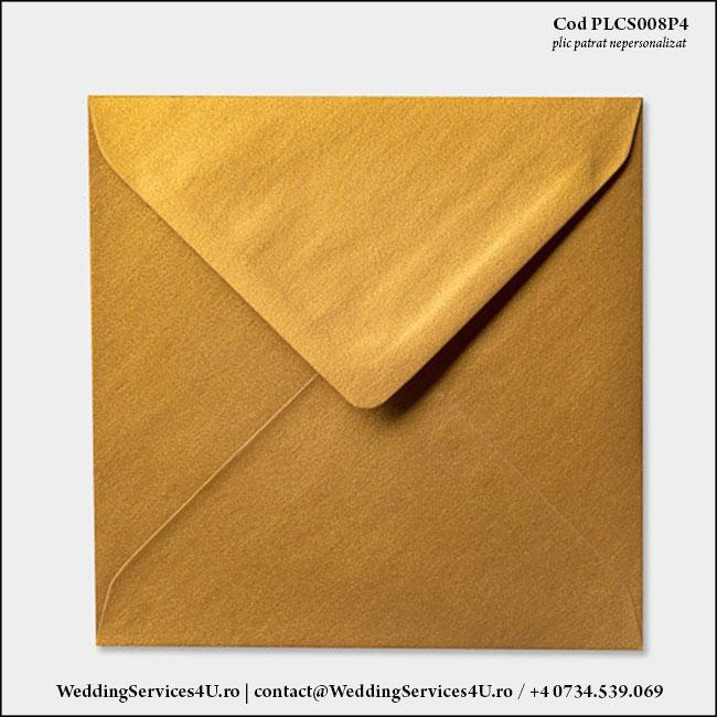 PLCS008P4 Plic Colorat Auriu Sidefat pentru Invitatie Patrata de Nunta Botez