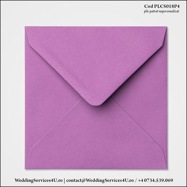 PLCS018P4 Plic Colorat Mov pentru Invitatie Patrata de Nunta Botez