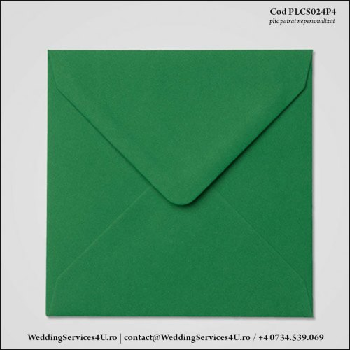 PLCS024P4 Plic Colorat Verde Inchis pentru Invitatie Patrata de Nunta Botez