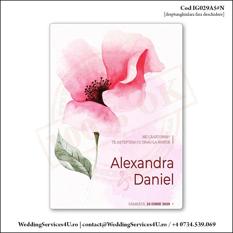 IG029A5#N Invitatie de Nunta Romantic Chic gen Watercolor Painting (Acuarela) Cod IG029A56#N
