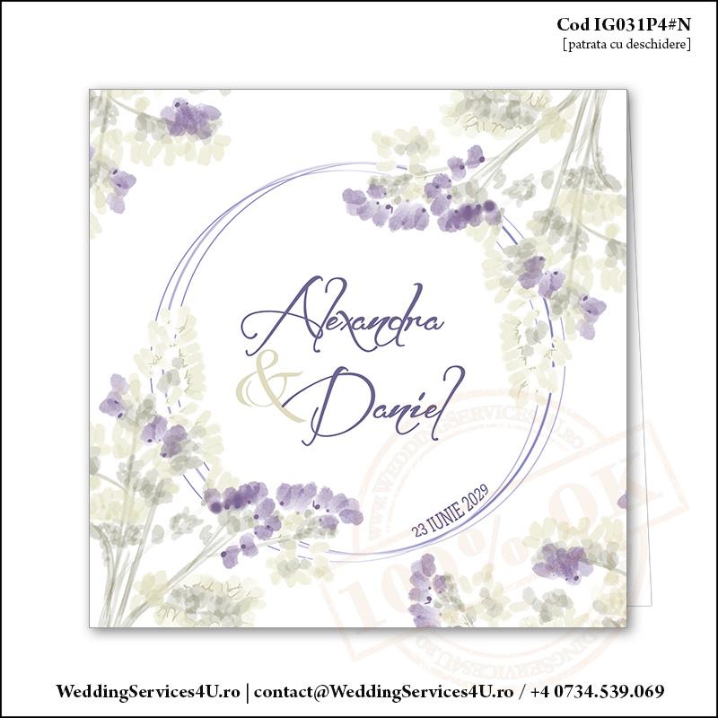 IG031P4#N Invitatie de Nunta Lavender Joy gen Watercolor Painting (Acuarela) Cod IG031P4#N