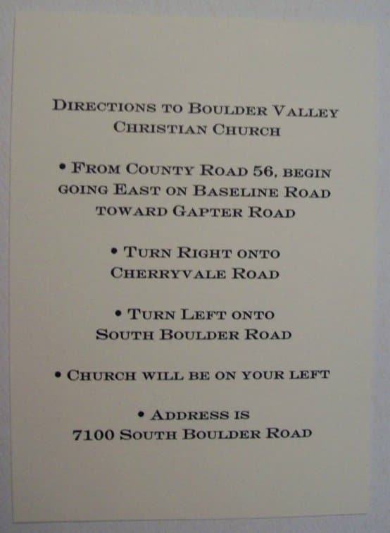 wedding invitation enclosure directions