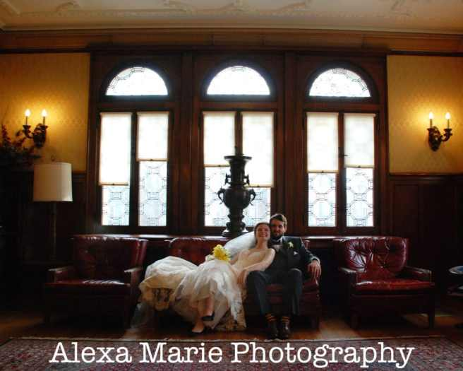 bride & groom at Troy Hayner Cultural Center