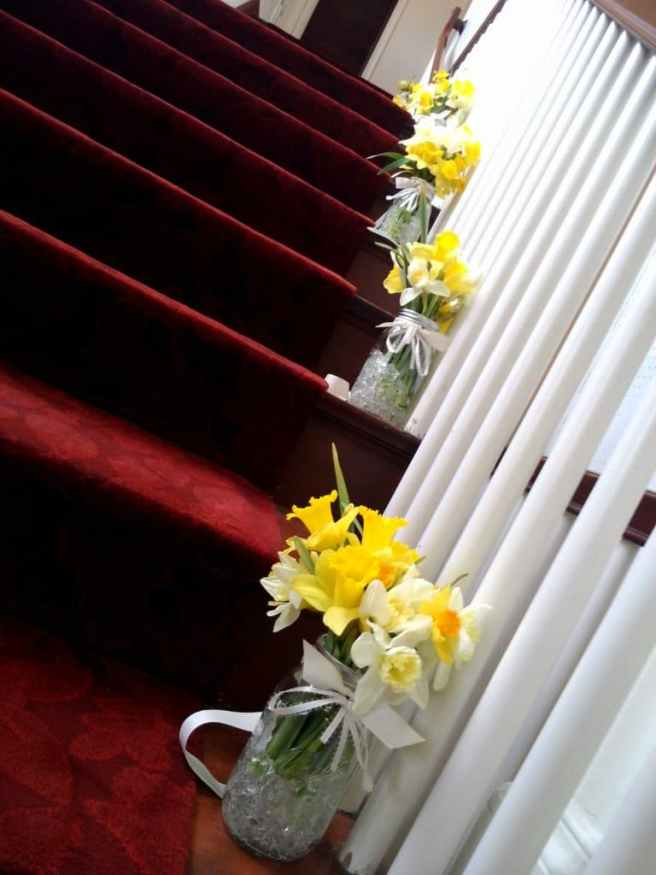 daffodils on steps