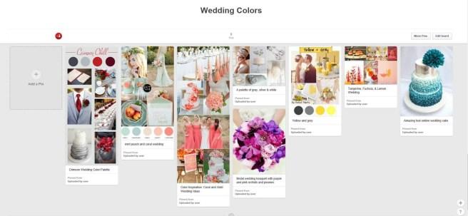 wedding colors pinterest board