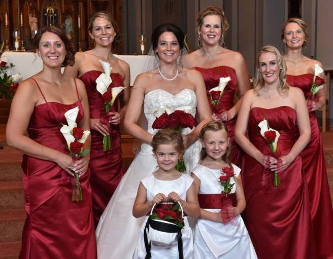 flower girls with wedding party
