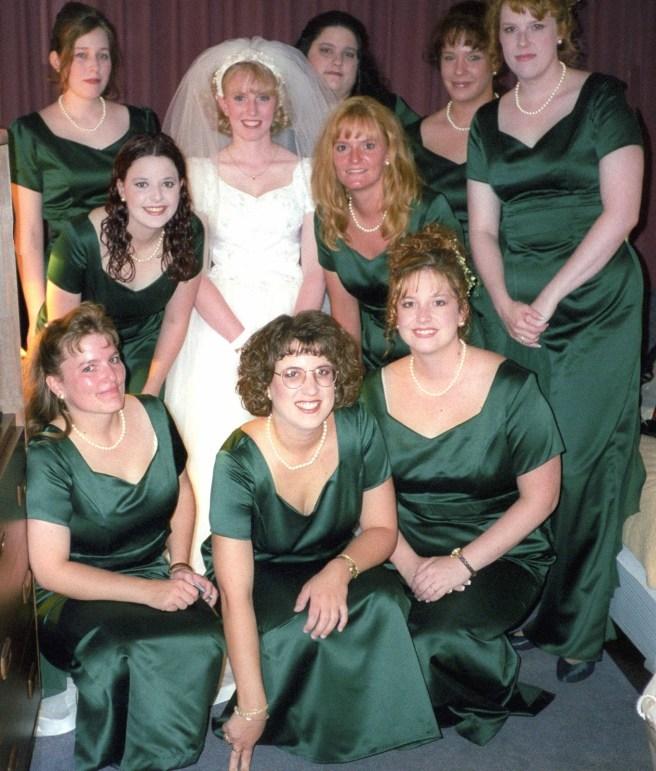 bridesmaids dressing alike